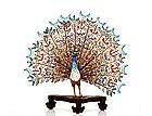 Chinese Export Gilt Filigree Enamel Silver Peacock Bird