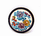 Old Japanese Cobalt Satsuma Button Belt Buckle Flower