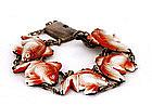 Old Japanese Toshikane Imari Silver Goldfish Bracelet
