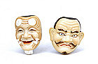 2 Old Japanese Toshikane Imari Noh Mask Button