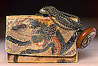 19C Japanese Leather Tobacco Pouch Kagamibuta