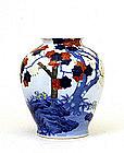 Lg Old Japanese Fukawaga Imari Vase Maple Leaves