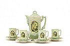 9 Japanese Nippon Moriage Dragon Chocolate Teapot Set