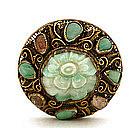 Chinese Filigree Silver Apple Green Jade Amethyst Pin