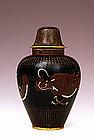 Meiji Japanese Goldstone Cloisonne Dragon Cov Vase