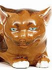 Old Japanese Brown Kutani Reclining Cat Neko Mk