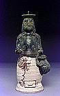 Japanese Oribe Pottery Figurine Figure Candle Holder