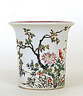 Old Chinese Famille Rose Planter Pot w Flower Mk