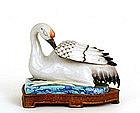 19C Chinese Famille Rose Crane Bird Figurine Mk