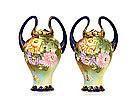 2 Old Japanese Nippon Cobalt Rabbit Ear Vase Flower