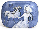 Polia Pillin Blue Glaze Girl Figurine w Horse Box Sg