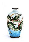 Old Japanese Ginbari Cloisonne Dragon Vase