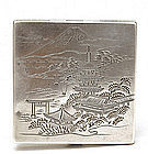Old Japanese Sterling Silver Compact Case Pagoda Sg