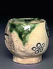 Old Japanese Oribe Pottery Ceramic Chawan Tea Bowl