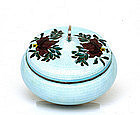 Korean Silver Enamel Cloisonne Tea Caddy Jar Bowl Mk
