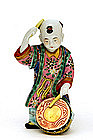Old Japanese Kutani Boy Figure Figurine w Drum Mk
