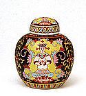 Chinese Thai Famille Benjarong Bencharong Buddha Jar