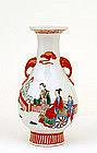 Chinese Famille Rose Vase w Figurine Figure Elephant
