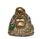 19C Chinese Enamel Bronze Happy Buddha Figurine
