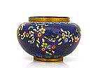 Old Chinese Export Gilt Cobalt Cloisonne Bowl w Bird