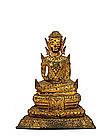 19C Thai Tibetan Bronze Gilt Buddha Figurine