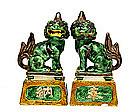 2 Old Japanese Kutani Fu Foo Lion Dog Figurine Figure