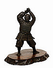 Meiji Japanese Bronze Samurai Figurine Figure Okimono