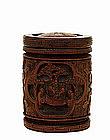 Old Chinese Bamboo Figurine Humidor Cov Jar