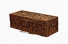 Old Chinese Export Canton Sandalwood Box w Figurine