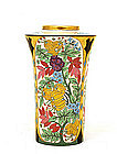 Japanese Export American Satsuma Vase w Flower Deco