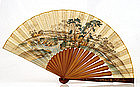 19C Japanese Wood Makie Lacquer Fan Painting