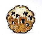 Meiji Japanese Satsuma Button 7 Geisha Figurine