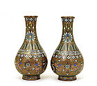 Pair of Old Chinese Gilt Cloisonne Dragon Vase