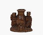 Old Japanese Wood Netsuke Boy Vase Figurine Figure