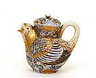 Old Japanese Kutani Bird Shaped Teapot