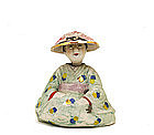 Old Japanese Banko Nodder Figurine Figure Geisha Hat