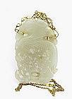 19C Chinese 14K Jade Nephrite Plaque Qilin Dragon
