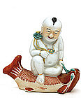 Chinese Famille Rose Buddha Boy Fish Figure Mk