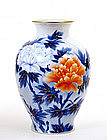 Japanese Fukagawa Peony Flower Vase Mk