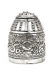 Chinese Export Silver Salt or Pepper Dragon Bell Mk