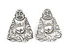 Chinese Export Silver Buddha Salt & Pepper Mk
