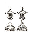 Japanese Sterling Silver Salt Pepper Pagoda Lantern Mk