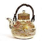 Meiji Japanese Satsuma Teapot Tea Pot Stag Deer
