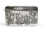 Old Japanese Silver Card Case w Iris Flower