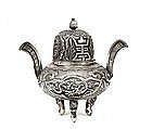 Old Chinese Silver Dragon Censer Incense Burner