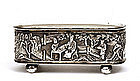 19C Chinese Export Silver Repousse Box Figure Mk