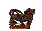 Old Chinese Lacquer Stone Foo Fu Dog Lion