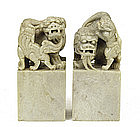 Chinese Soapstone Fu Lion Dog Seal Chop Figure