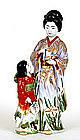 Lg Old Japanese Kutani Geisha Girl Figurine Doll