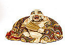 Old Japanese Satsuma Moriage Hotei God Figure Mk